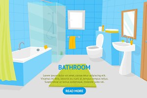 Bathroom Interior Card Poster
