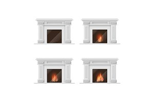 Classic Fireplace Set. Vector