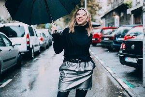 Stylish woman with umbrella