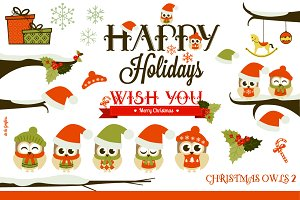 Christmas Owls 2 Clipart