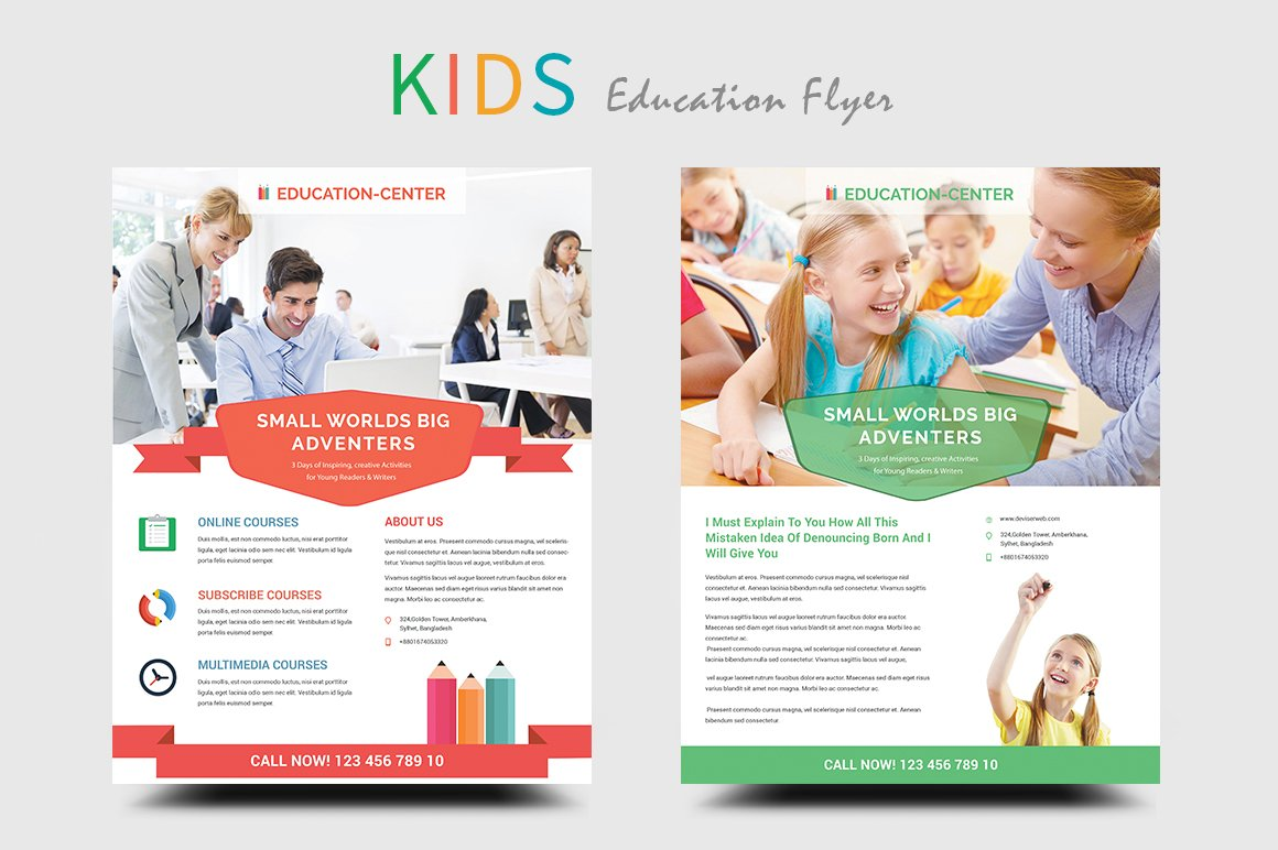Kids education school flyers flyer templates creative for Free brochure templates for students