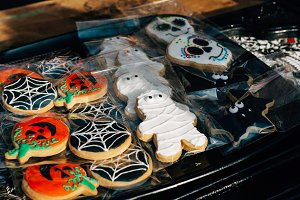 Fun halloween cookies, in an outdoor