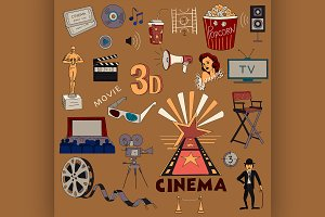 Colored hand drawn cinema icon set
