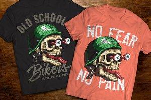 Biker's skull vector t-shirt
