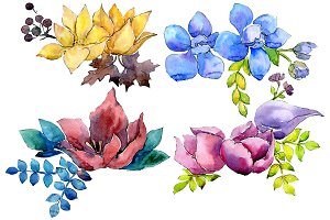Flower composition PNG watercolor