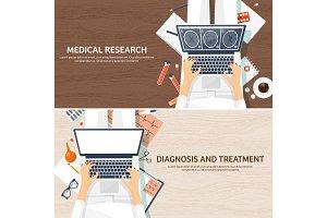 Medical flat background. Health care