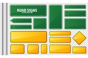 Road green and yellow traffic sign