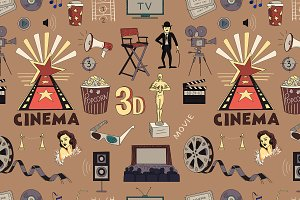 Colored Hand drawn cinema pattern