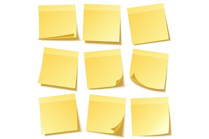 Sticky note with shadow isolated on