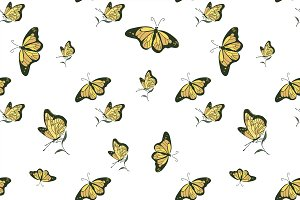 colored doodle butterfly pattern