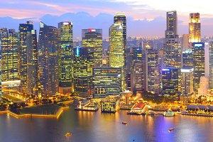 Skyline Singapore Dowtown aerial
