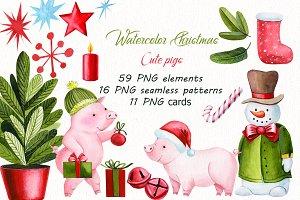 Watercolor Christmas, Cute Pigs
