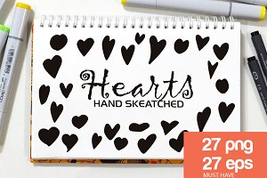54 Hand-Drawn Hearts ClipArt