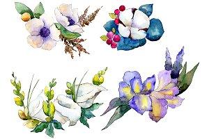 Bouquet flower composition PNG set