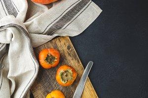 Persimmon, pumpkin, corn