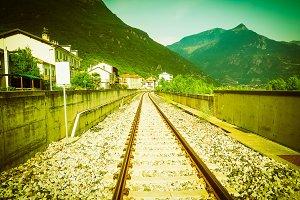 railway track perspective vintage re