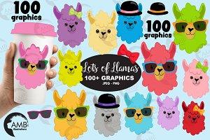 100 llamas clipart AMB-2100