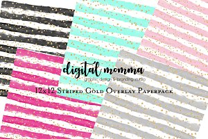12x12 Striped Gold Digital Paper