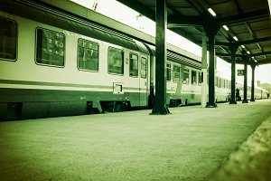 Train at station vintage retro
