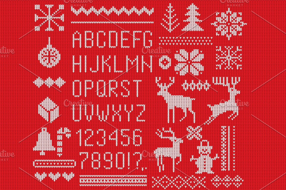 Knitted font, elements and borders.