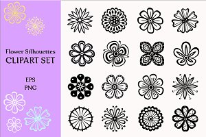 Flower Silhouettes Vector Collection