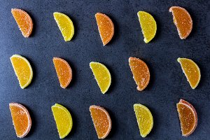 Yummy sweet citrus candy with sugar
