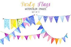 Watercolor Party Flags Clipart