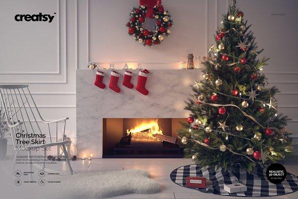 Christmas Tree Skirt Mockup Set