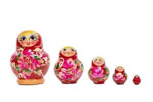 Isolated set of Matryoshka dolls on
