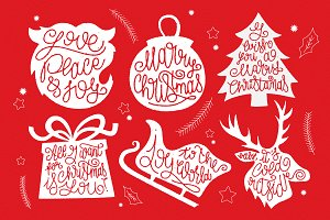 6 Christmas Graphics + Lettering
