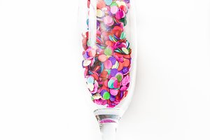 Champagne glass with confetti