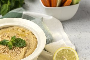 Homemade chickpea hummus