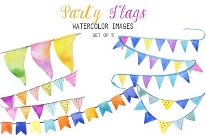 Watercolor Party Flag Clipart