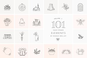 101 Hand Drawn Logo Elements EPS PSD