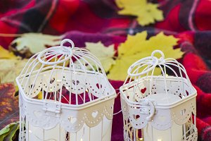 Candles in decorative cages