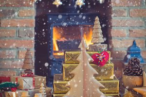Christmas setting lantern, fireplace