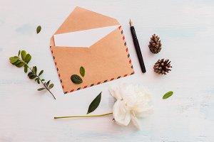 Eco rustic peony envelope mockup