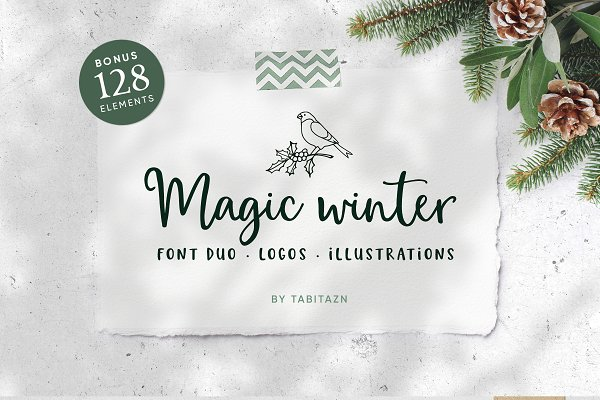 Magic Winter script font duo & logo…
