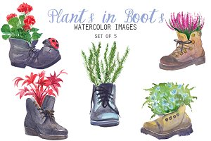 Watercolor Plants in Boots Clipart