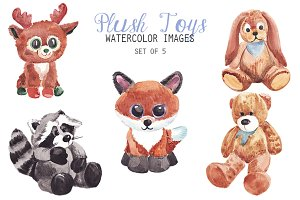 Watercolor Plush Toys Clipart