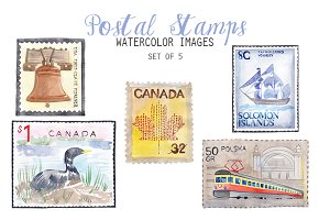 Watercolor Postal Stamps Clipart