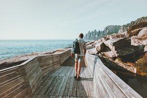 Man traveler walking