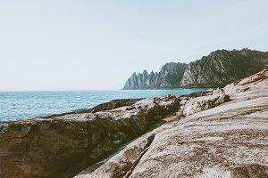 Okshornan peaks and sea in Norway