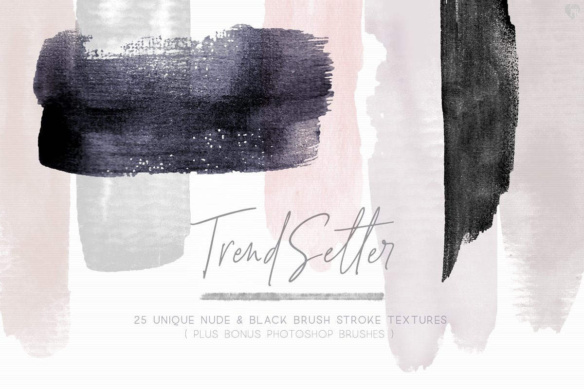 BLACK & NUDE WATERCOLOR BRUSH STROKE in Objects - product preview 8