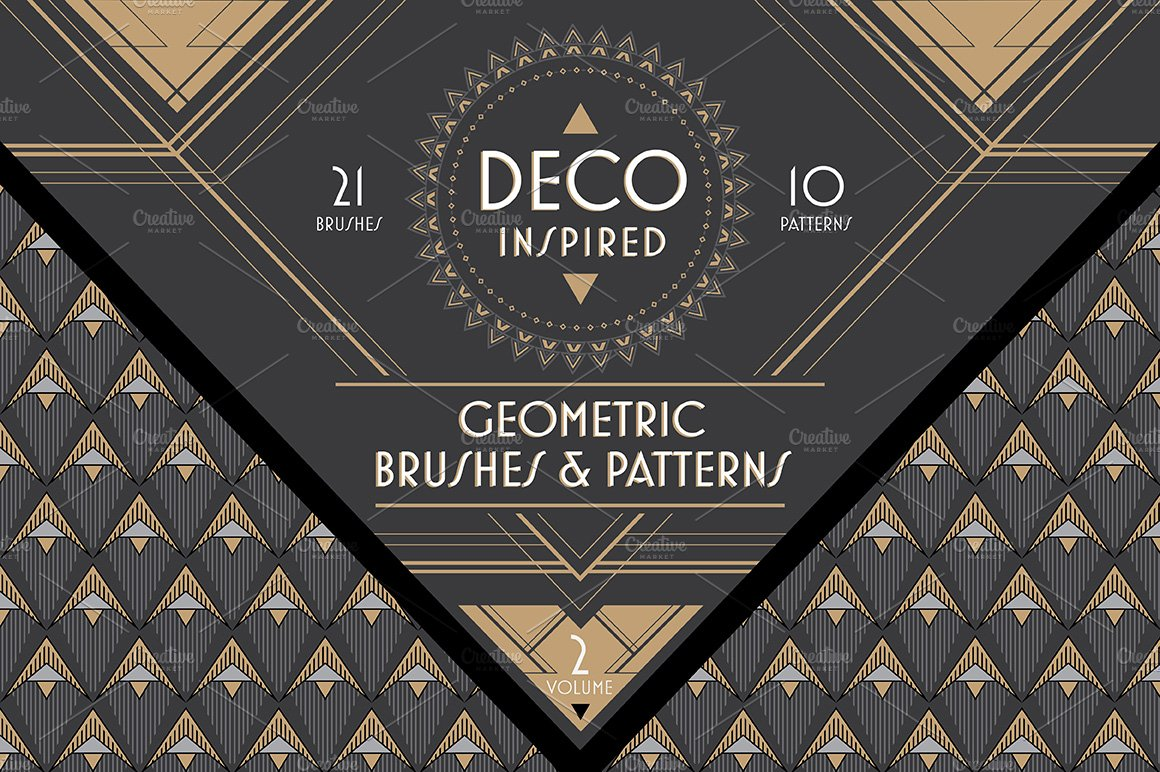 Deco brushes patterns vol 2 patterns creative market - Deco vol ...