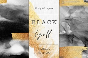 Gold and Black watercolor papers