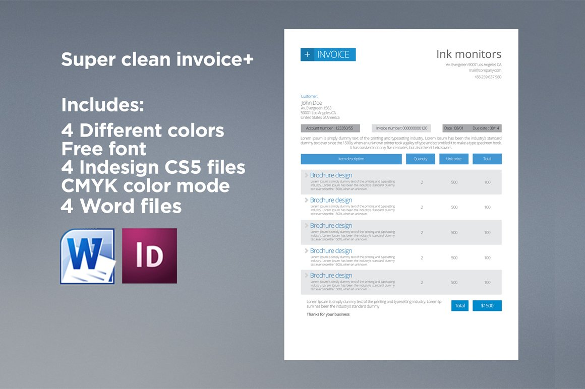 Clean Invoice Stationery Templates Creative Market - Cleaning invoice examples