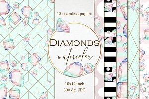 Diamond seamless digital papers