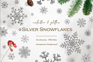 Silver snowflakes clipart