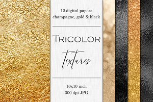 Gold, Champagne & Black textures